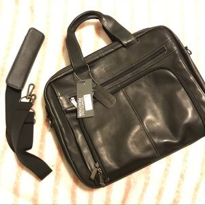 Kenneth Cole Leather Briefcase Laptop Carry Bag